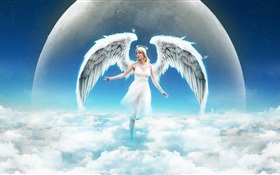 Fantasy angel girl in sky, clouds HD wallpaper