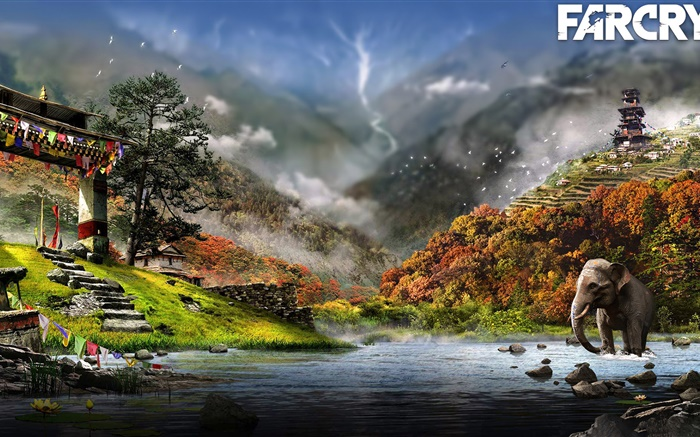 Far Cry 4, river, elephant Wallpapers Pictures Photos Images