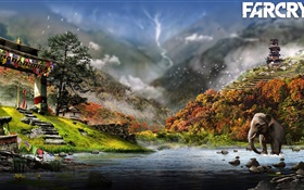 Far Cry 4, river, elephant HD wallpaper