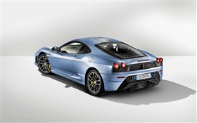 Ferrari light blue car rear view HD wallpaper