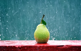 Fruit close-up, pear in the rain HD wallpaper