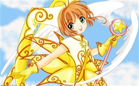 Golden dress anime girl HD wallpaper