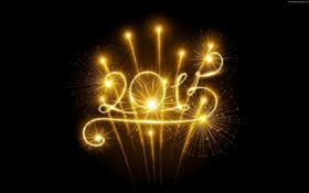 Golden fireworks, 2015 New Year HD wallpaper