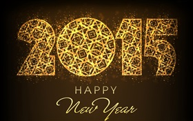 Golden style New Year 2015 HD wallpaper