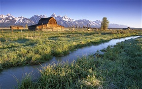 Grand Teton National Park, Wyoming, USA, river, house, grass