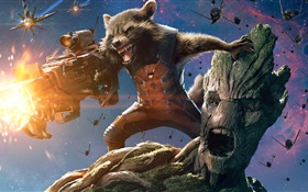 Guardians of the Galaxy, 2014 movie, raccoon and tree man HD wallpaper