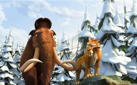 Ice Age 3, mammoths and saber-toothed tiger HD wallpaper