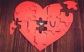 Jigsaw love heart-shaped HD wallpaper