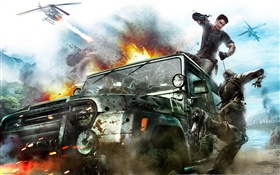 Just Cause 3, car roof fighting HD wallpaper