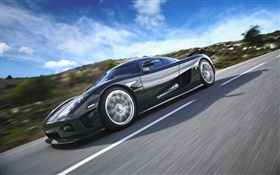 Koenigsegg black car at high speed HD wallpaper