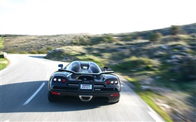 Koenigsegg black car rear view