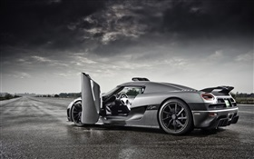 Koenigsegg gray supercar doors opened HD wallpaper