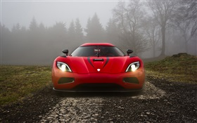 Koenigsegg red supercar front view HD wallpaper