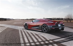 Koenigsegg red supercar side view HD wallpaper