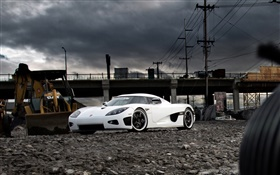 Koenigsegg white supercar HD wallpaper