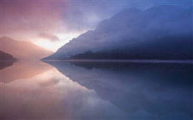 Lake, mountain, fog, water reflection HD wallpaper