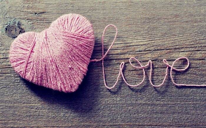 Love and heart-shaped pink wool Wallpapers Pictures Photos Images