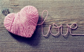 Love and heart-shaped pink wool