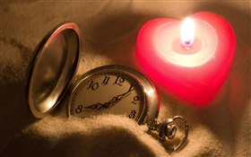 Love heart-shaped candles, pocket watch HD wallpaper