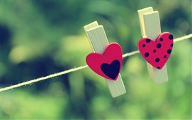Love heart-shaped with clothespins HD wallpaper