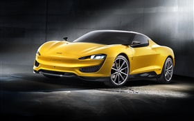 Magna Steyr yellow car 2015 HD wallpaper