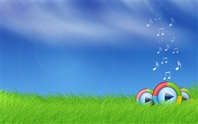 Microsoft Windows media play logo in the grass HD wallpaper