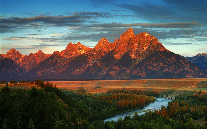 Mountains, forest, river, autumn, America, Wyoming Wallpapers Pictures Photos Images
