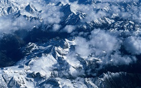 Mountains, snow, clouds, Chinese scenery