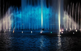Night, fountains, lighting HD wallpaper