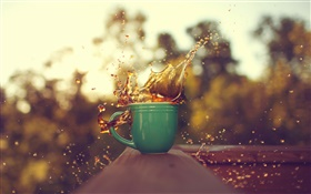 One cup coffee, water splash HD wallpaper