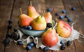 Pears and berries HD wallpaper