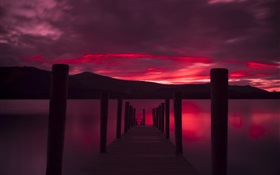 Pier, sunset, lake, red sky HD wallpaper