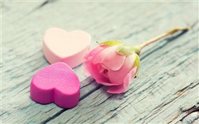 Pink rose and love heart-shaped HD wallpaper