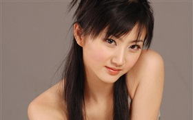 Pure Chinese girl, long hair HD wallpaper