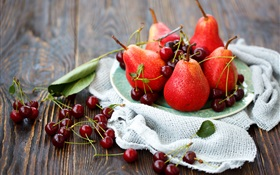 Red cherry and red pears HD wallpaper