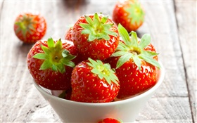 Red fresh strawberries, bowl HD wallpaper