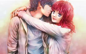 Red hair anime girl with her boyfriend HD wallpaper