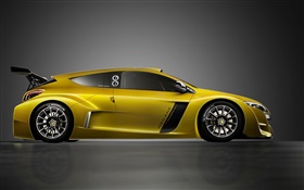 Renault yellow sport car side view HD wallpaper