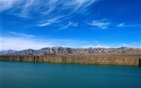 River, mountains, blue sky, cliff, China landscape HD wallpaper