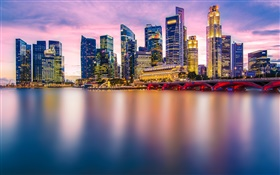 Singapore, city evening, lights, skyscrapers, bay HD wallpaper