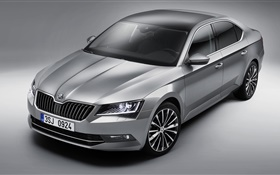 Skoda Superb silver car 2015 HD wallpaper