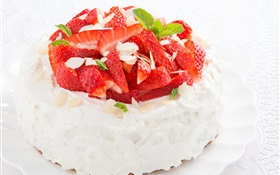 Small dessert strawberry cake HD wallpaper