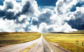 Straight road, clouds HD wallpaper
