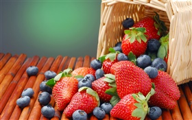 Strawberries and blueberries, basket HD wallpaper