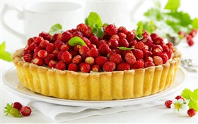 Strawberries piled on the cake HD wallpaper