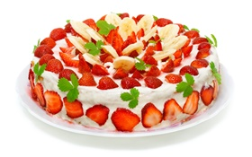 Strawberry banana slices cake HD wallpaper