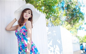Summer blue skirt Asian girl HD wallpaper