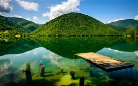 Summer, green, lake, mountains HD wallpaper