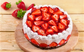 Sweet strawberry cake HD wallpaper