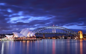 Sydney Opera House, Australia, night, bridge, lights, sea, blue HD wallpaper